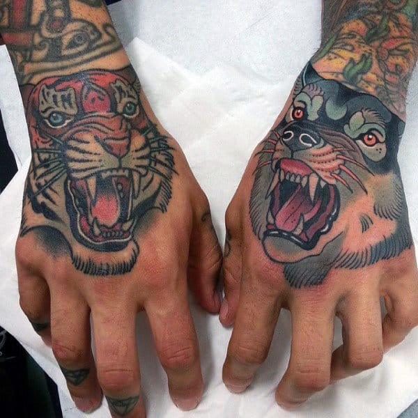 Male Hands Sick Screaming Beast Tattoo Designs