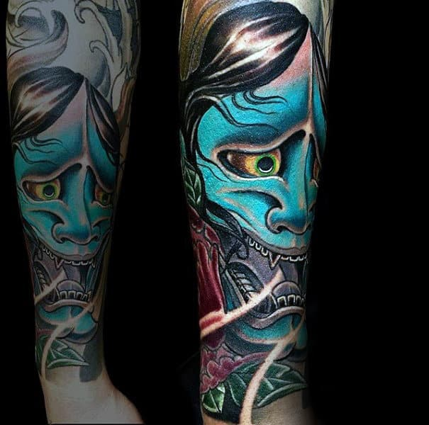 Male Hannya Mask Forearm Sleeve Teal Ink Tattoo Designs