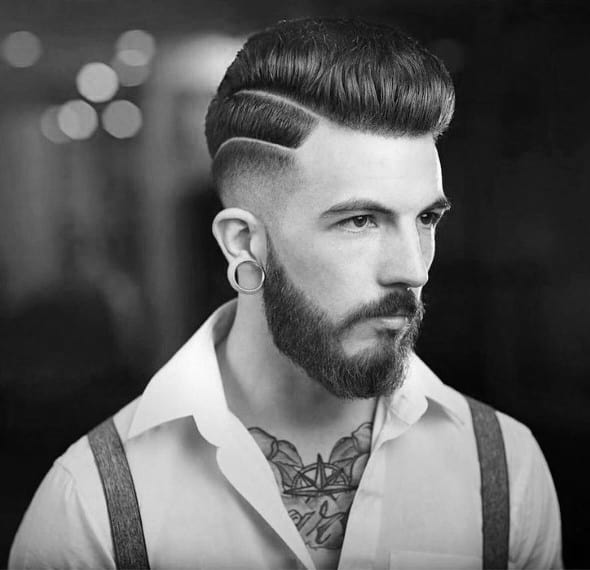 Male Hard Part Pompadour Hairstyle For Guys