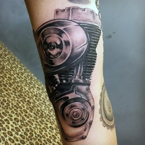 Male Harley Davidson Motor Tattoos On Forearm