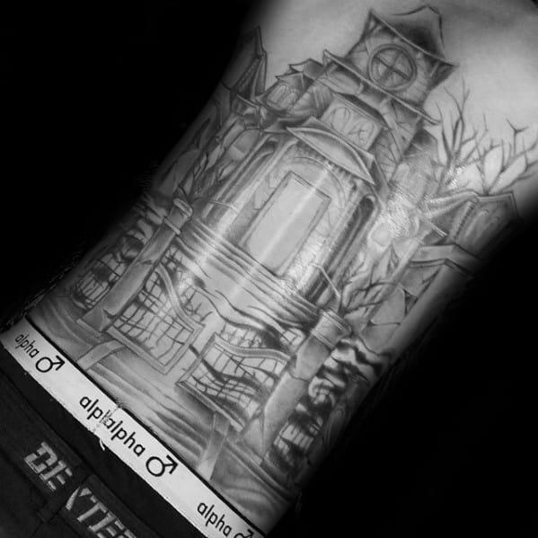 Male Haunted House Tattoo Design Inspiration