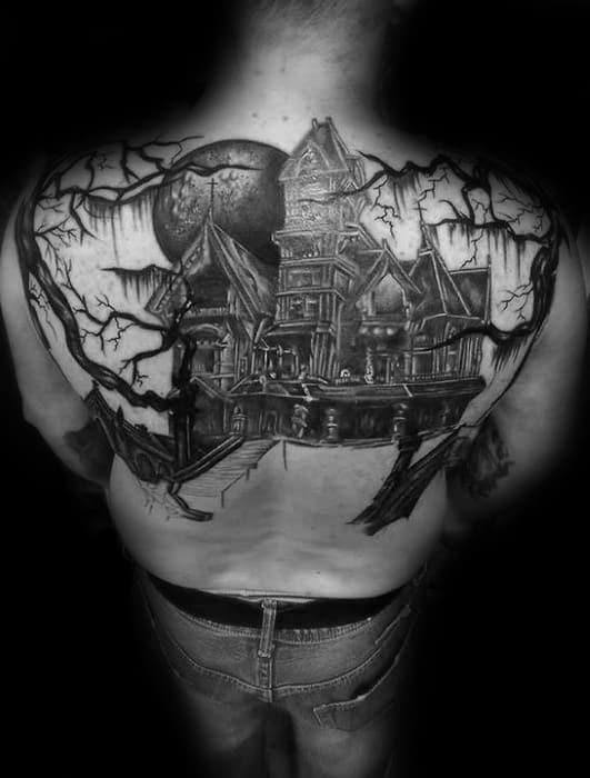 Male Haunted House Tattoo