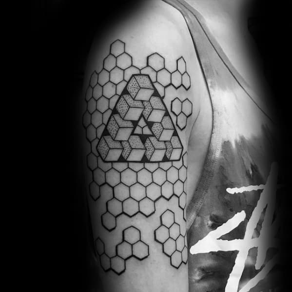 Male Hexagon Arm Black Ink Oultine Penrose Triangle Tattoo Design Inspiration