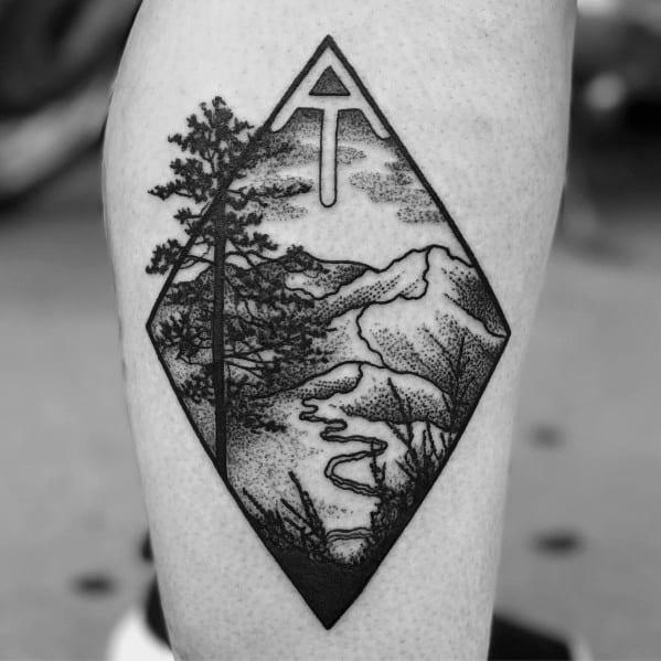 Male Hiking Themed Tattoo Inspiration