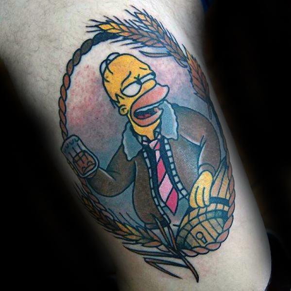 Male Homer Simpson Tattoo Design Inspiration On Leg
