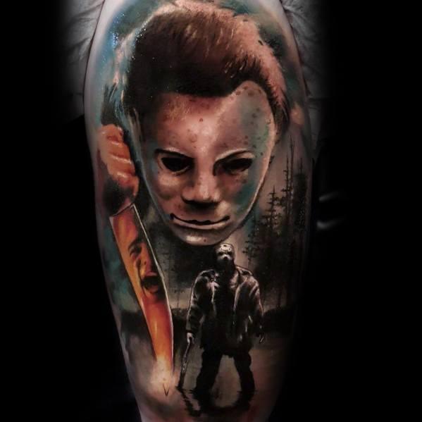 Male Horror Movie Themed Tattoo Inspiration