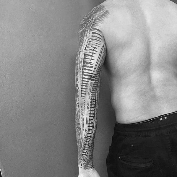Male Hr Giger Tattoo Design Inspiration
