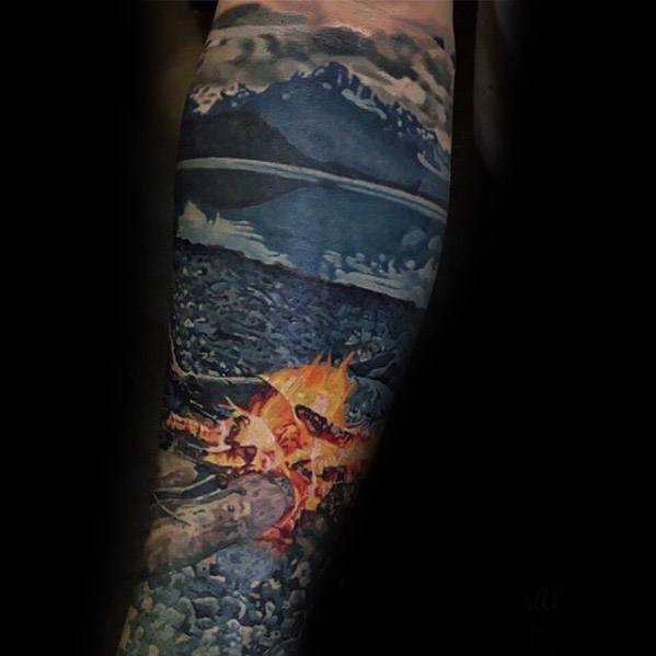 Male Hyper Realistic Forearm Tattoo With Campfire Design