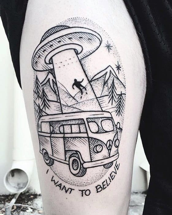 Male I Want To Believe Tattoo Design Inspiration Thigh