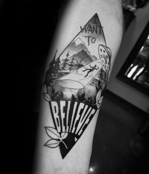 Male I Want To Believe Tattoo Ideas Forearm