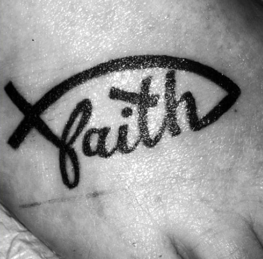 Male Ichthus Tattoo Ideas Faith Word Foot