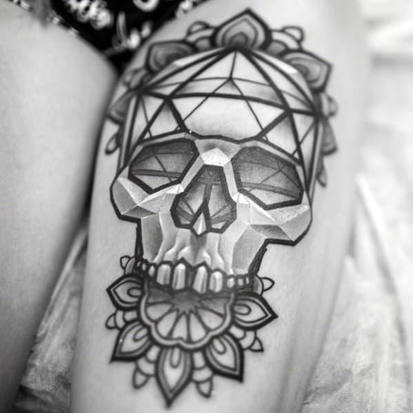 Male Icosahedron Tattoo Design Inspiration