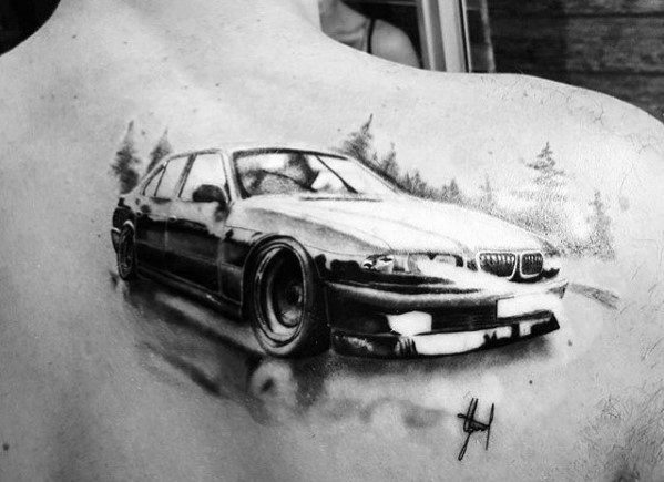 Male Ideas Bmw Watercolor Upper Back Tattoos