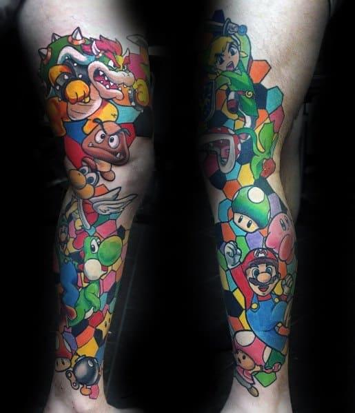 Male Ideas Mario Gaming Tattoos Full Leg