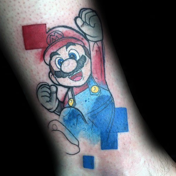 Male Ideas Mario Tattoos With Pixel Design