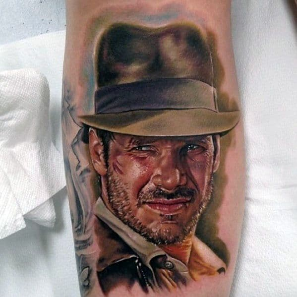 Male Indiana Jones Themed Tattoo Inspiration