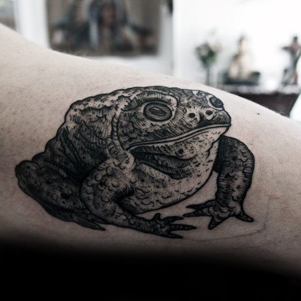 Male Inner Arm Bicep Detailed Tattoo With Toad Design