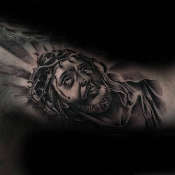 Male Inner Arm Portrait Tattoo Of Jesus