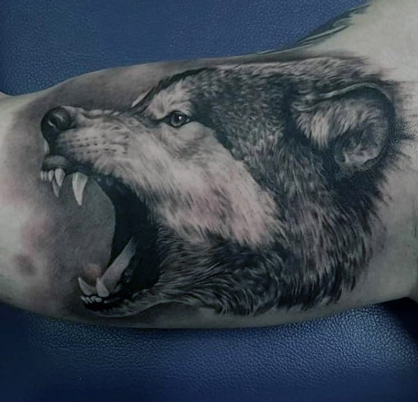 Male Inner Arms Open Mouthed Beast Tattoo
