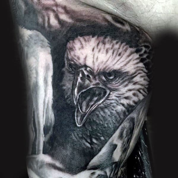 Male Inner Biceps Beaky Bird Tattoo