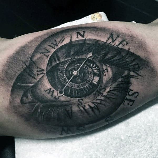 Male Inner Biceps Eye Shaped Compass Tattoo