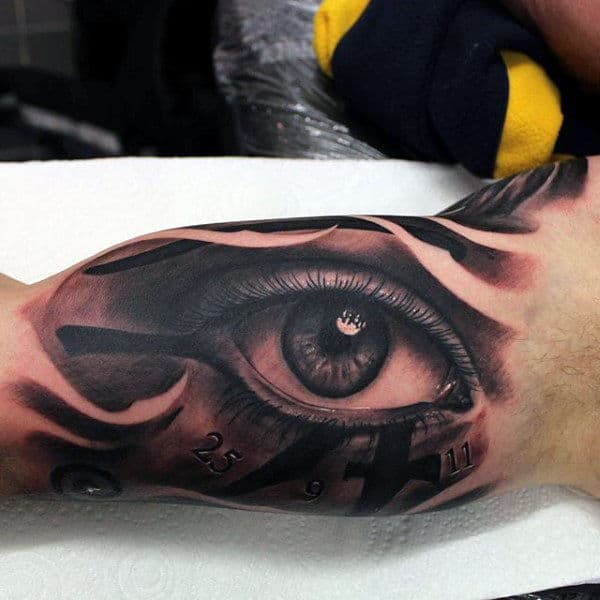 Male Inner Biceps Eye Tattoo