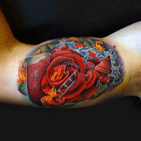 Male Inner Biceps Flaming Rose Tattoo