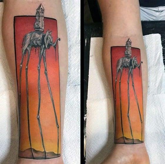 Male Inner Forearm 3d Tattoo With Salvador Dali Elephant Design