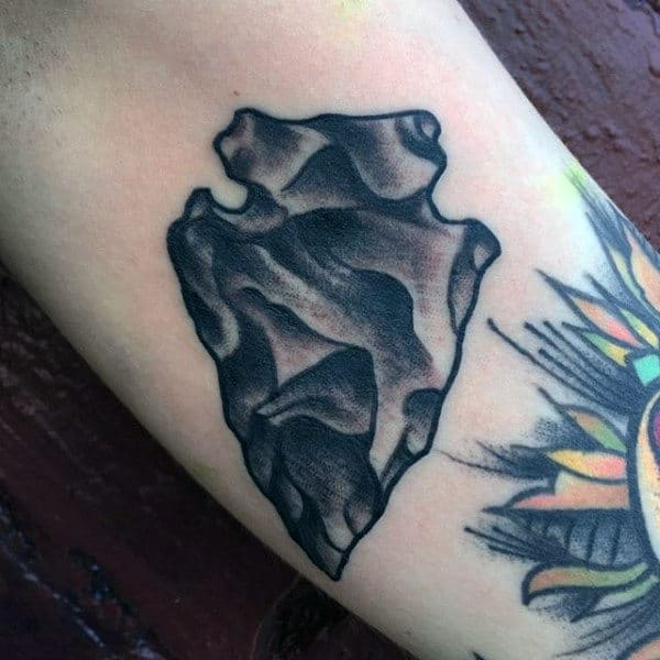 Male Inner Forearm Black Ink Arrowhead Tattoos