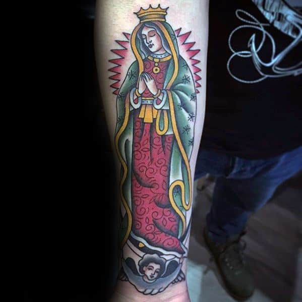 Male Inner Forearm Cool Guadalupe Tattoo Ideas
