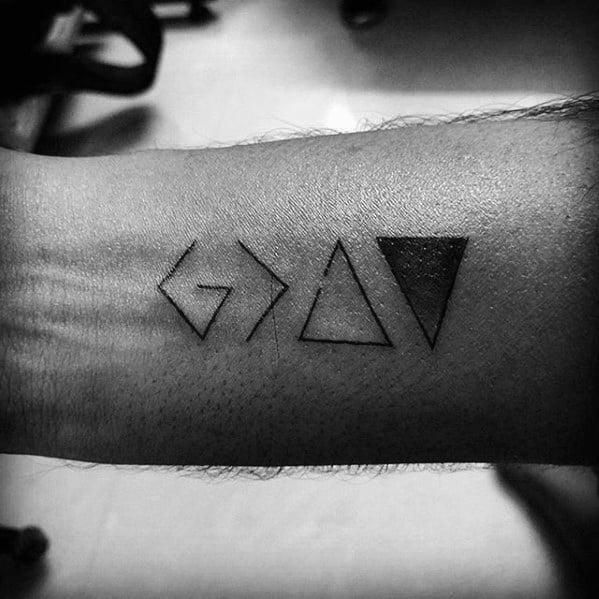 Male Inner Forearm God Is Greater Than The Highs And Lows Tattoo Design Inspiration