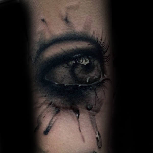 Male Inner Forearm Watercolor Crying Eye Realistic Tattoo Designs