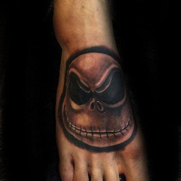 Male Jack Sellington Night Before Christmas Foot Tattoos