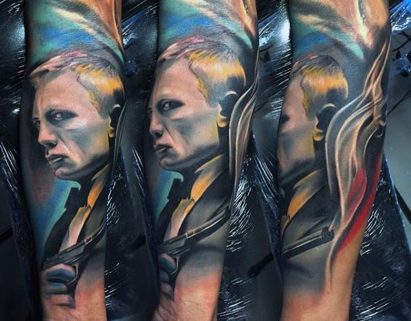 Male James Bond Colorful Forearm Sleeve Tattoo Ideas