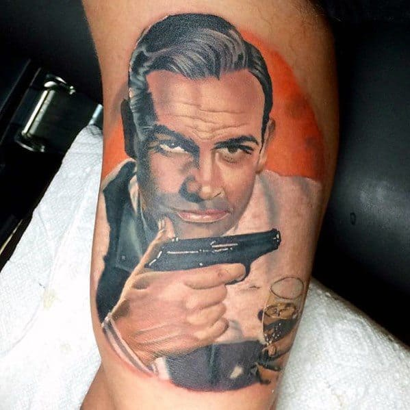 Male James Bond Tattoo Design Inner Arm Bicep