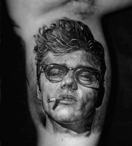 Male James Dean Inner Arm Bicep Shaded Tattoo Design Inspiration