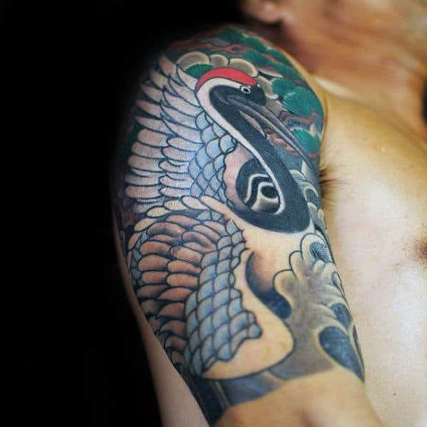 Male Japanese Crane Quarter Sleeve Tattoos