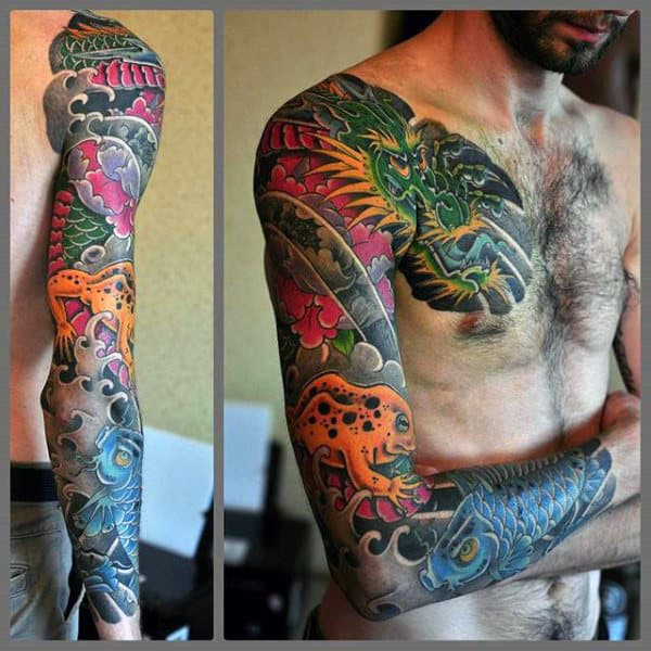 Male Japanese Frog Full Sleeve Tattoo Design Ideas