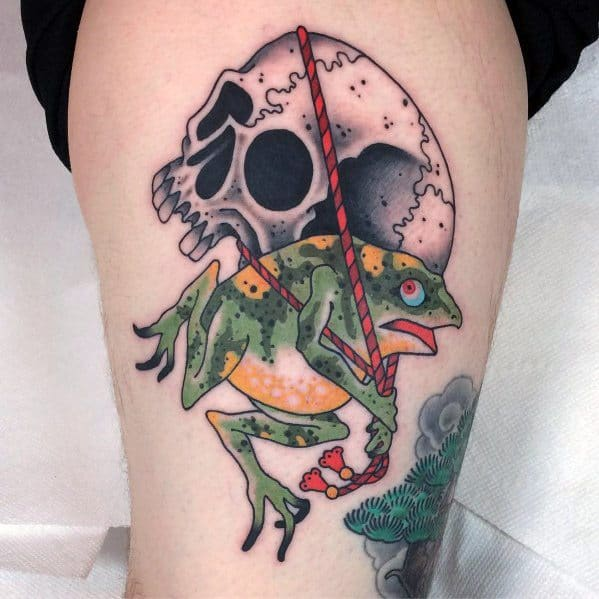 Male Japanese Frog Themed Tattoo Inspiration