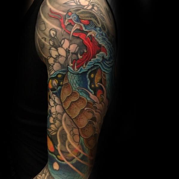 Male Japanese Snake Tattoo Design Ideas Half Sleeve