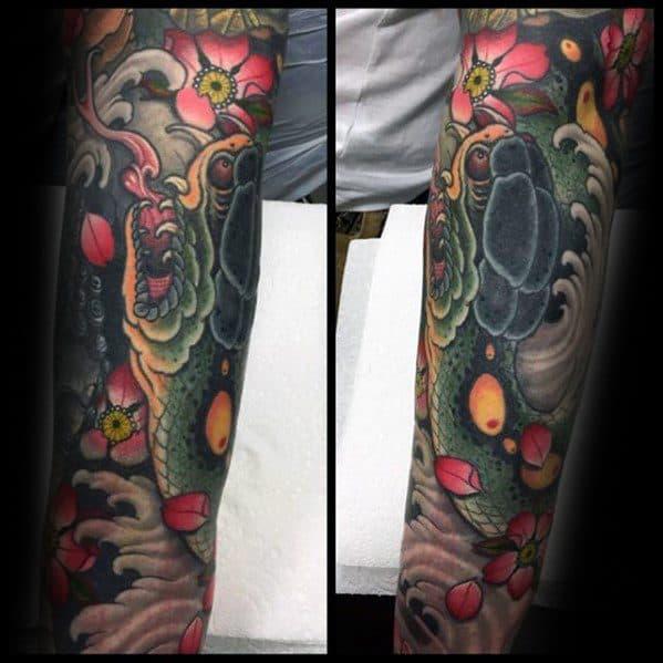 Male Japanese Snake Tattoo Ideas Arm Sleeve