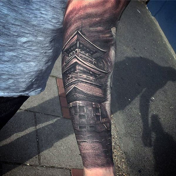 Male Japanese Temple Forearm Sleeve Tattoo Ideas