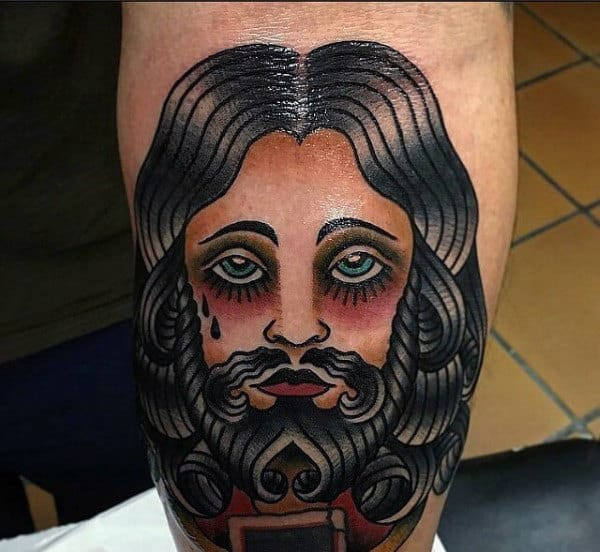 Male Jesus Arm Tattoo Designs With Old School Style Ink