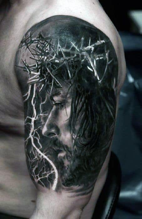 Male Jesus With Crown Of Thrones Realistic 3d Arm Portrait Tattoo