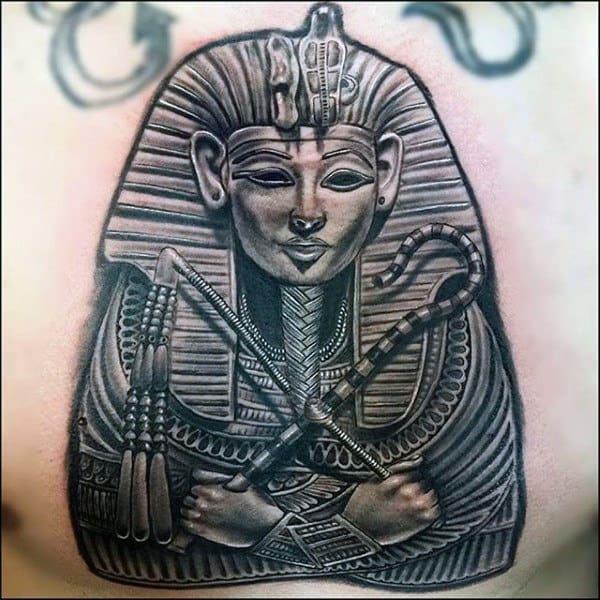 Male King Tutankhamun Realistic Chest Tattoo