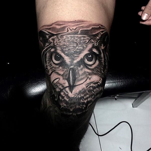 Male Knee And Leg Awesome Owl Tattoo