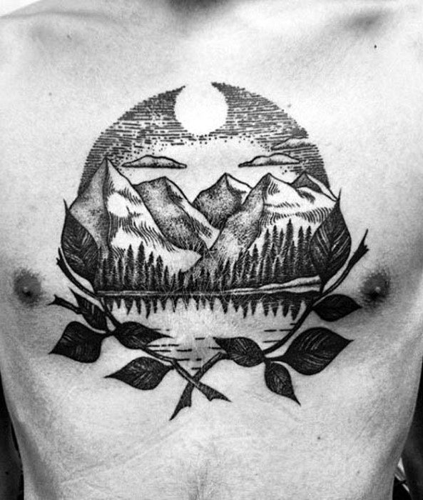 Male Lake Tattoo Ideas On Chest