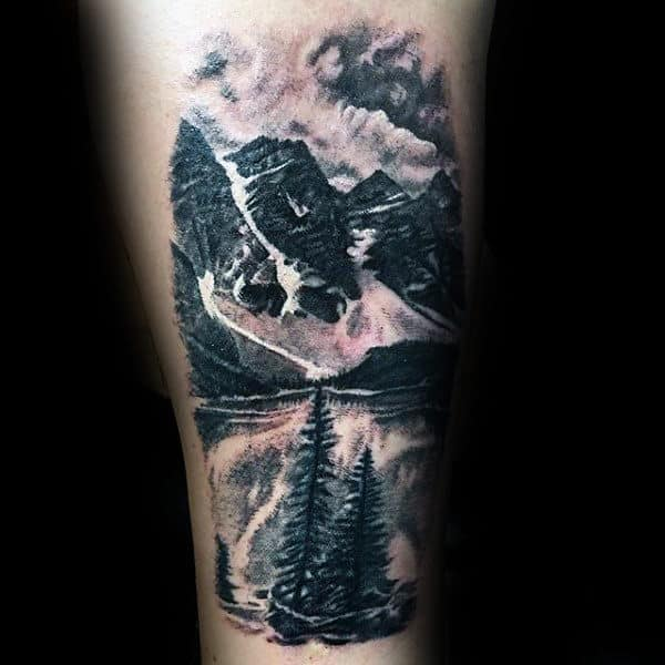 Male Landscape Mountains Arm Tattoo Ideas