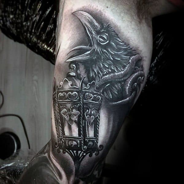 Male Lantern Tattoo 3d Inner Arm Bicep Design