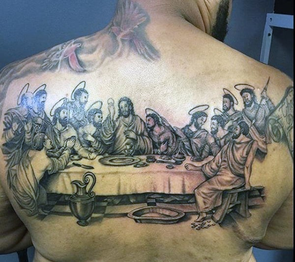 Male Last Supper Biblical Tattoo Ideas On Back